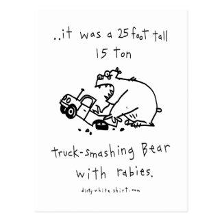Truck-Smashing Bear Postcard