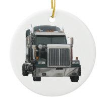 Truck tractor ceramic ornament