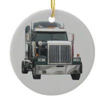 Truck tractor ceramic ornament