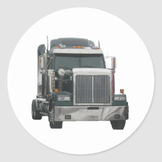 Truck tractor classic round sticker
