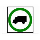 Truck Traffic Permitted  Highway Sign Post Card