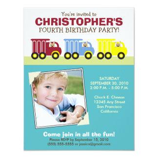 Truck Trio Boy's Aqua Birthday Party Invitation