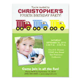 Truck Trio Boy's Green Birthday Party Invitation
