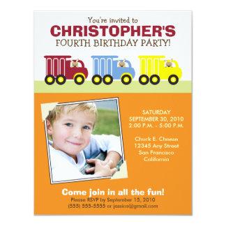 Truck Trio Boy's Orange Birthday Party Invitation