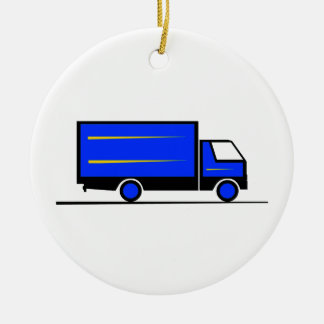 Truck - Truck (01) Double-Sided Ceramic Round Christmas Ornament