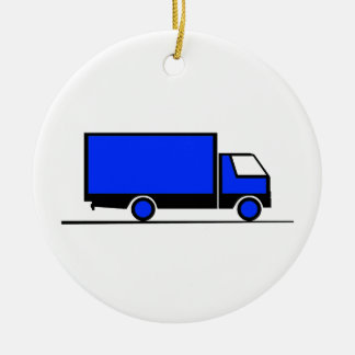 Truck - Truck (02) Double-Sided Ceramic Round Christmas Ornament