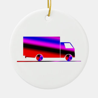Truck - Truck (07) Double-Sided Ceramic Round Christmas Ornament