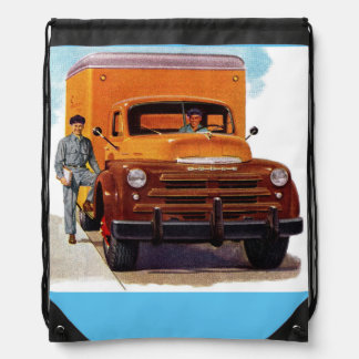 truck truckers truckin' drawstring bag