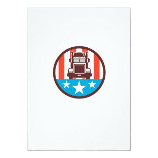 Truck USA Flag Circle Retro Card