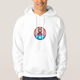 Truck USA Flag Circle Retro Hoodie