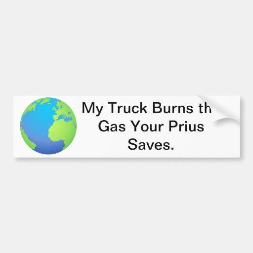 Truck vs. Prius Bumper Stickers