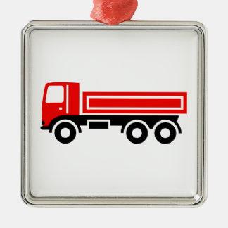 Truck with dump truck metal ornament