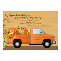 Truck With Leaves Fall Invitation