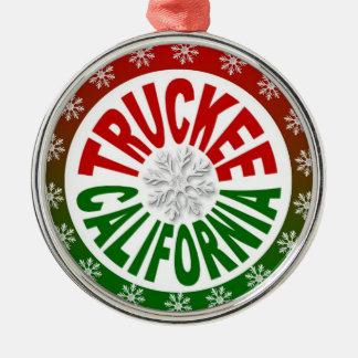 Truckee California red green snowflake ornament