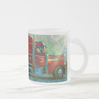 Trucker Big Rig Designs for Truck-lovers Frosted Glass Coffee Mug