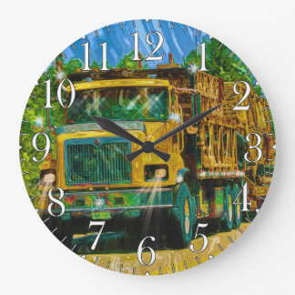Trucker Big Rig Designs for Truck-lovers Large Clock