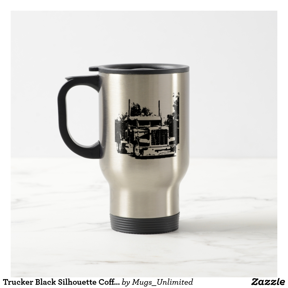 Trucker Black Silhouette Coffee Mug - Stylish, Designer Drinkware With Unlimited Creativity