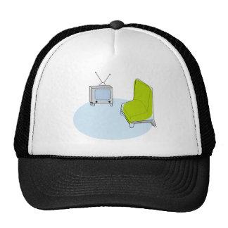 Trucker Cap, Vintage Retro TV & Chair Design Trucker Hat