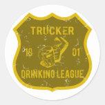 Trucker Drinking League Round Stickers
