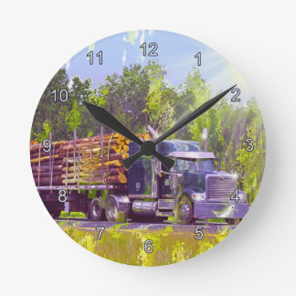 Trucker Gifts Logging Truck Wall Clock