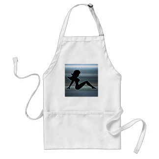 Trucker Girl on Metal Adult Apron