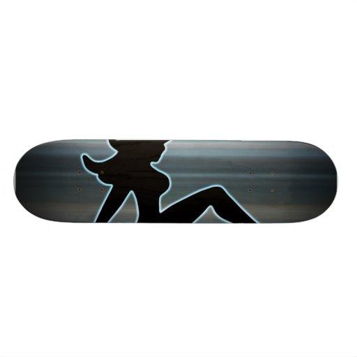 Trucker Girl on Metal Skate Deck