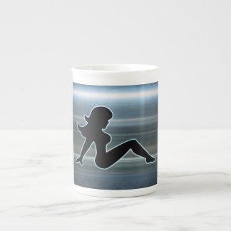 Trucker Girl on Metal Tea Cup