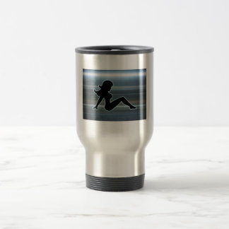 Trucker Girl on Metal Travel Mug