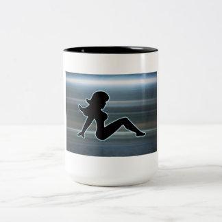Trucker Girl on Metal Two-Tone Coffee Mug