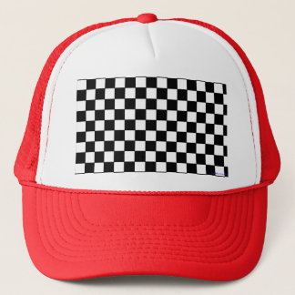 trucker hat - black & white checkers