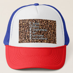 Trucker Hat COFFEE beans Christ Offers Forgiveness 0c3b1b6443e5