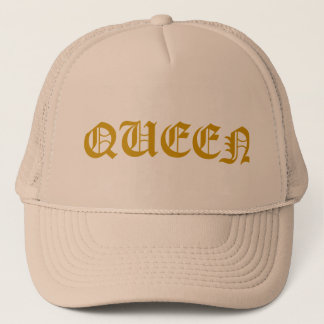 "Trucker hat in khaki color with gold ""QUEEN"" text"