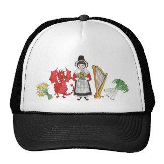 Trucker Hat: Welsh, Daffodils, Dragon, Leeks, Harp