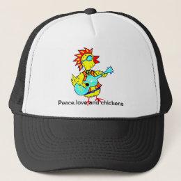 Trucker hat with folk art funky chicken