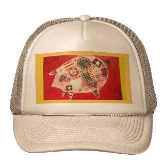 Trucker Hat with Patriotic Pig Design