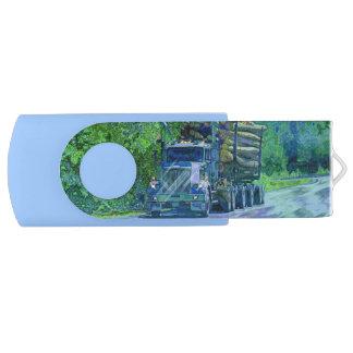 Trucker Logging Truck Lorry Heavy Transport Gift 1 Swivel USB 2.0 Flash Drive