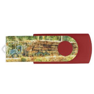 Trucker Logging Truck Lorry Heavy Transport Gift 7 Swivel USB 2.0 Flash Drive