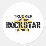 Trucker Rock Star by Night Round Sticker