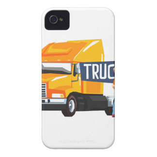 Trucker Standing Next To Heavy Yellow Long-Distanc Case-Mate iPhone 4 Case