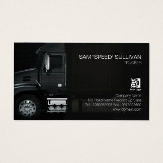 Trucker Transportation Haulage Black Truck Front Business Card