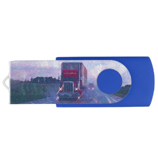 Trucker Truck Lorry Heavy Transport Gift 3 Swivel USB 2.0 Flash Drive