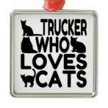 Trucker Who Loves Cats Ornament