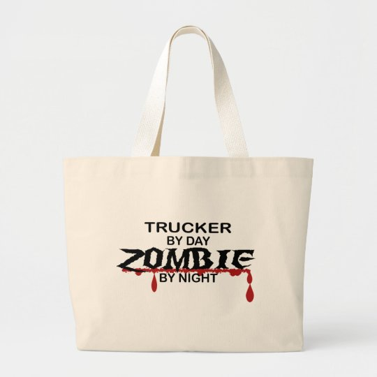 Trucker Zombie Large Tote Bag
