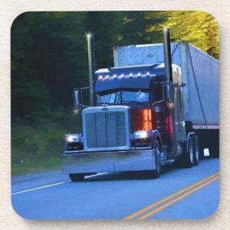 Truckers, Big Rig Cargo Truck Art Beverage Coaster