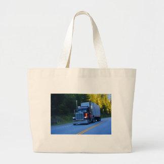 Truckers, Big Rig Cargo Truck Art Large Tote Bag