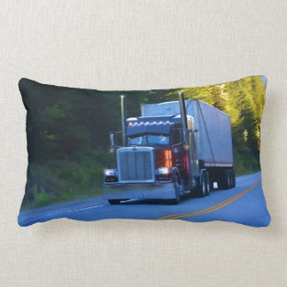 Truckers, Big Rig Cargo Truck Art Lumbar Pillow