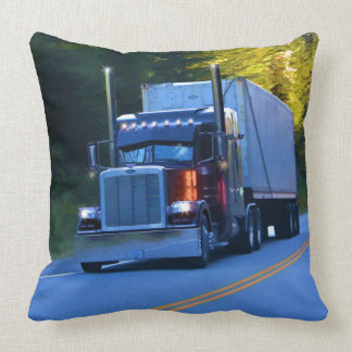 Truckers, Big Rig Cargo Truck Art Throw Pillow