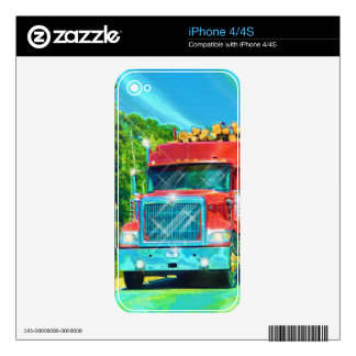 Truckers Big Rig Red Cargo Truck Device Skin Decals For The iPhone 4
