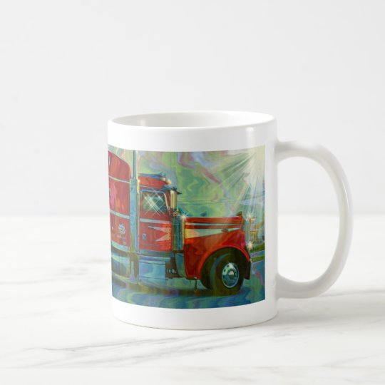TRUCKERS BIG RIG RED TRUCK COFFEE MUG