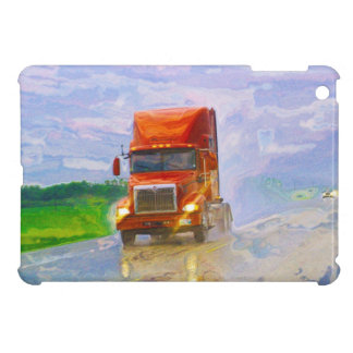 Truckers Big Rig Red Truck in the Rain Case iPad Mini Covers